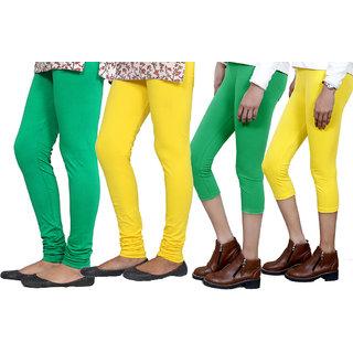 Indiweaves Women Cotton Bio-Wash Legging With Women Cotton Capri Set Of - 4  71028487180104-Iw-Xl