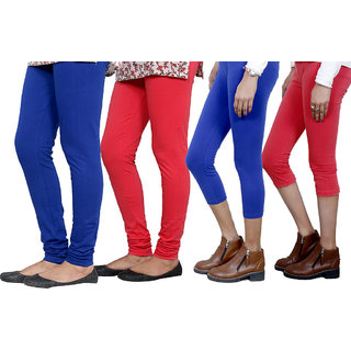 Indiweaves Women Cotton Bio-Wash Legging With Women Cotton Capri Set Of - 4  71031357180614-Iw-M