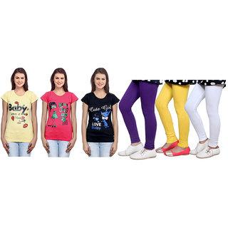 Indiweaves Cotton Girls T-Shirt  Girls Legging Set Of - 6  310000105714020703-Iw