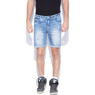 Mufti Mens Blue Slim Fit Shorts