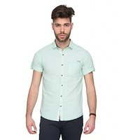 Mufti Mens Green Slim Fit Casual Shirts