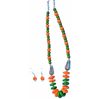 Kiya Green And Orange Neckwear With Matching Danglers