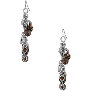 Dangler Earrings With Silver Plated Rings Black Coloured Beads