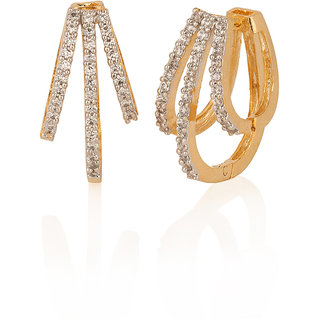 Gold Plated Hoop Earrings With Resplendent Cz Stones