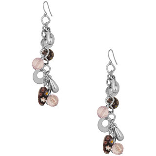 Dangler Earrings With Silver Plated Rings White Coloured Beads