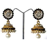 Black Stone Jhumka Earring