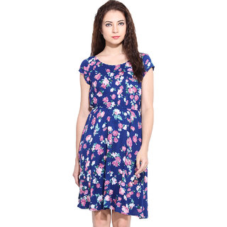 Paprika Multi Rayon Printed Round Neck Dress