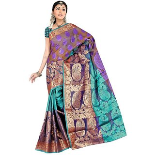 Fabplus multi color Chanderi silk saree with blouse piece