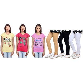 Indiweaves Cotton Girls T-Shirt  Girls Legging Set Of - 6  310000107714010503-Iw
