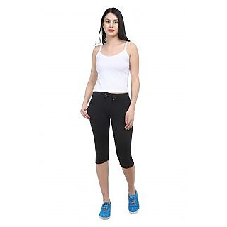 Vimal Black Cotton Blend Trackpant For Women (F1BLACK01)