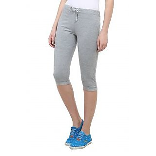 Vimal Grey Melange Cotton Blend Trackpant For Women (F1MELANGE01)