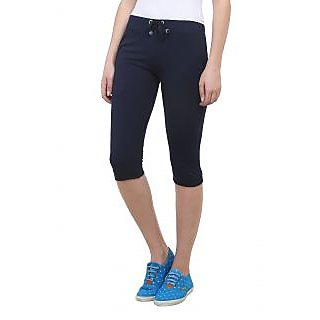 Vimal Navy Blue Cotton Blend Trackpant For Women (F1NAVY01)