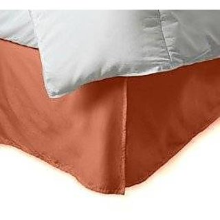 Super Soft And Elegant 1Pc Bed Skirt With 10 Drop Length 500 Thread Count Queen 100 Organic Cotton Brick Red Solid By Hothaat