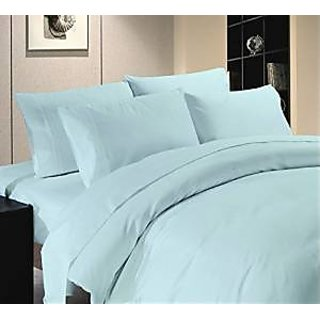 Super Soft And Elegant 4Pc Sheet Set 600 Thread Count Single 100 Organic Cotton Sky Blue Solid By Hothaat