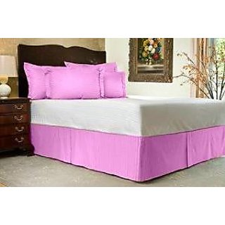 Super Soft And Elegant 1Pc Bed Skirt With 6 Drop Length 500 Thread Count King 100 Egyptian Cotton Pink Stripe By Hothaat