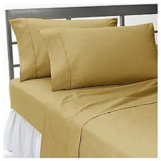 Super Soft And Elegant 4Pc Sheet Set 400 Thread Count Double 100 Organic Cotton Beige Solid By Hothaat