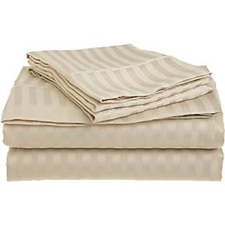 Super Soft And Elegant 4Pc Sheet Set 500 Thread Count Rv Camper Short Queen 100 Organic Cotton Beige Stripe By Hothaat