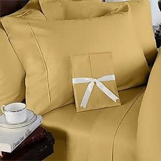 Super Soft And Elegant 4Pc Sheet Set 300 Thread Count Cal-King 100 Egyptian Cotton Gold Solid By Hothaat