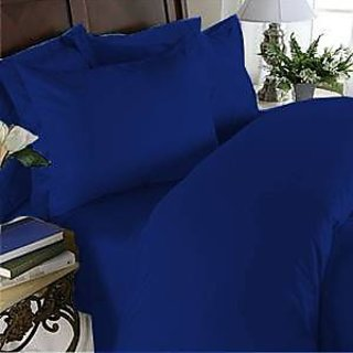Super Soft And Elegant 1Pc Flat Sheet Set 800 Thread Count Cal-King 100 Organic Cotton Egyptian Blue Solid By Hothaat
