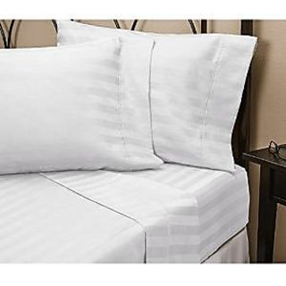 Super Soft And Elegant 1Pc Flat Sheet Set 300 Thread Count Twin 100 Egyptian Cotton White Stripe By Hothaat