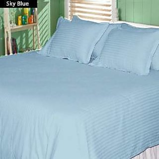 Super Soft And Elegant 1Pc Flat Sheet Set 500 Thread Count Twin 100 Egyptian Cotton Sky Blue Stripe By Hothaat