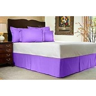 Super Soft And Elegant 1Pc Bed Skirt With 10 Drop Length 400 Thread Count Twinxl 100 Organic Cotton Lilac Stripe By Hothaat