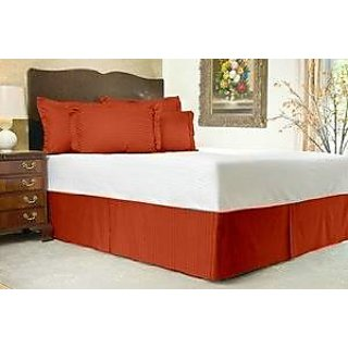 Super Soft And Elegant 1Pc Bed Skirt With 7 Drop Length 300 Thread Count Queen 100 Organic Cotton Brick Red Stripe By Hothaat