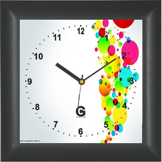 Go Hooked Designer Wall Clock with Glass - PLAS-SQRBLACK-7