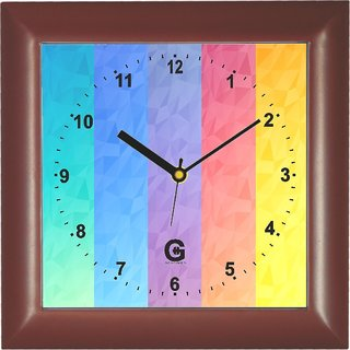 Go Hooked Designer Wall Clock with Glass - PLASSQRBROWN-26