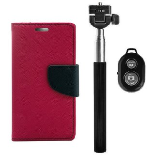 YGS Diary Wallet Case Cover  For Lenovo Vibe K5 Plus -Pink With Extendable Selfie Stick and  Bluetooth Shutter Remote