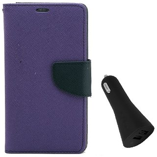 YGS Diary Wallet Case Cover  For Lenovo Vibe K5 Plus -Purple With Dual Port USB Car Charger