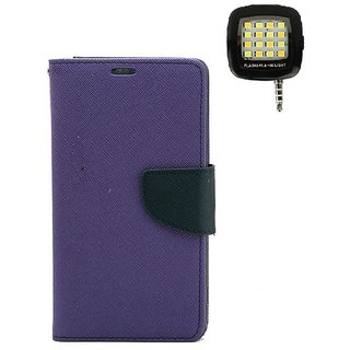 YGS Diary Wallet Case Cover  For Lenovo Vibe K5 Plus -Purple With Photo Enhancing Flash Light