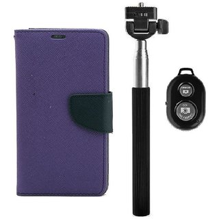 YGS Diary Wallet Case Cover  For Lenovo Vibe K5 Plus -Purple With Extendable Selfie Stick and  Bluetooth Shutter Remote