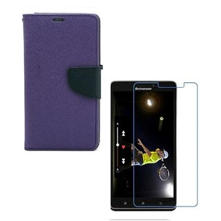 YGS Diary Wallet Case Cover  For Lenovo Vibe K5 Plus -Purple With Tempered Glass
