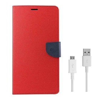 YGS Diary Wallet Case Cover  For Lenovo Vibe K5 Plus -Red With Micro USB Data Cable
