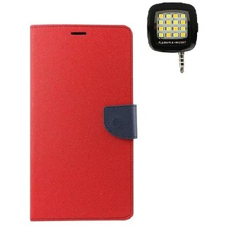 YGS Diary Wallet Case Cover  For Lenovo Vibe K5 Plus -Red With Photo Enhancing Flash Light