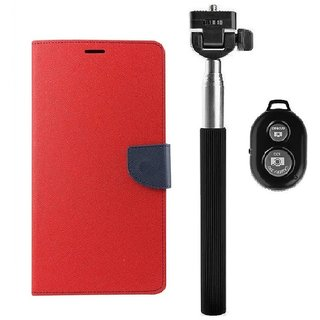 YGS Diary Wallet Case Cover  For Lenovo Vibe K5 Plus -Red With Extendable Selfie Stick and  Bluetooth Shutter Remote