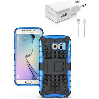 YGS Tough Rugged Dual Layer Back Case with Kickstand for Samsung Galaxy S7 Edge-Blue With USB Data Cable and Wall Charger