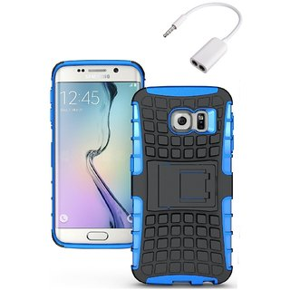 YGS Tough Rugged Dual Layer Back Case with Kickstand for Samsung Galaxy S7 Edge-Blue With Audio Splitter