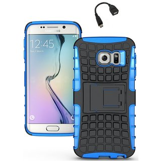 YGS Tough Rugged Dual Layer Back Case with Kickstand for Samsung Galaxy S7 Edge-Blue With Micro OTG