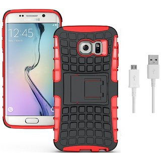 YGS Tough Rugged Dual Layer Back Case with Kickstand for Samsung Galaxy S7 Edge-Red With USB Data Cable