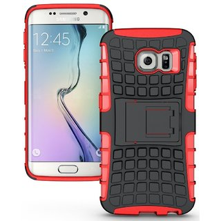 YGS Tough Rugged Dual Layer Back Case with Kickstand for Samsung Galaxy S7 Edge-Red