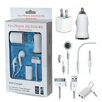 5 In 1 USB Charger, Car Charger, USB Cable, Earphone For Apple Iphone 4Gs 3G 2G
