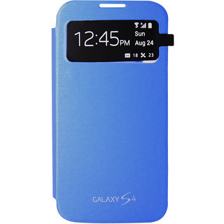 Blue S View Glass Protection Flip Cover Case for Samsung Galaxy S4 i9500