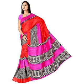 Fabplus Multi color  Bhagalpuri silk saree with blouse piece