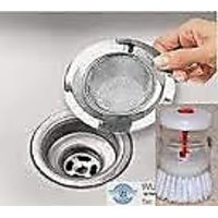 Steel Mesh Sink/basin Strainer For Drain And Cleaning Brush With Soap Dispenser