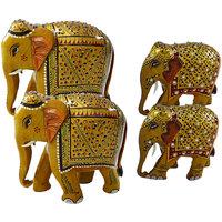 RAJASTHANI ART DECORATED  ELEPHANT FAMILY-TWO BIG ELEPHANT  TWO SMALL ELEPHANT - COMB101