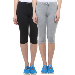 Vimal Black Grey Melange Cotton Blend Trackpant For Women ( Pack Of 2) (F1BLACK-F1MELANGE-02)