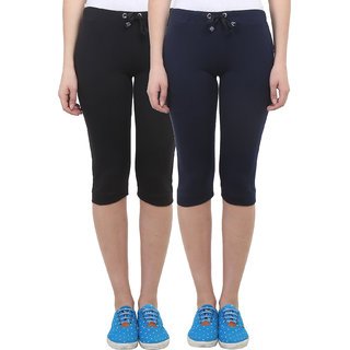 Vimal Black Navy Blue Cotton Blend Trackpant For Women ( Pack Of 2) (F1BLACK-F1NAVY-02)