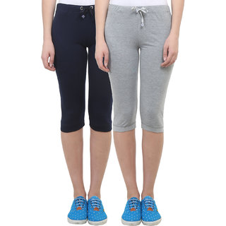 Vimal Grey Melange Navy Blue Cotton Blend Trackpant For Women ( Pack Of 2) (F1NAVY-F1MELANGE-02)